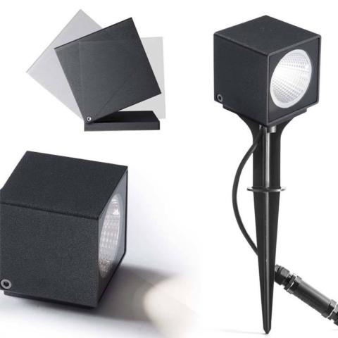 Augenti KUBO Led Einstellbarer Scheinwerfer für den Außenbereich Wanddecke Spiess Bodenbefestigung