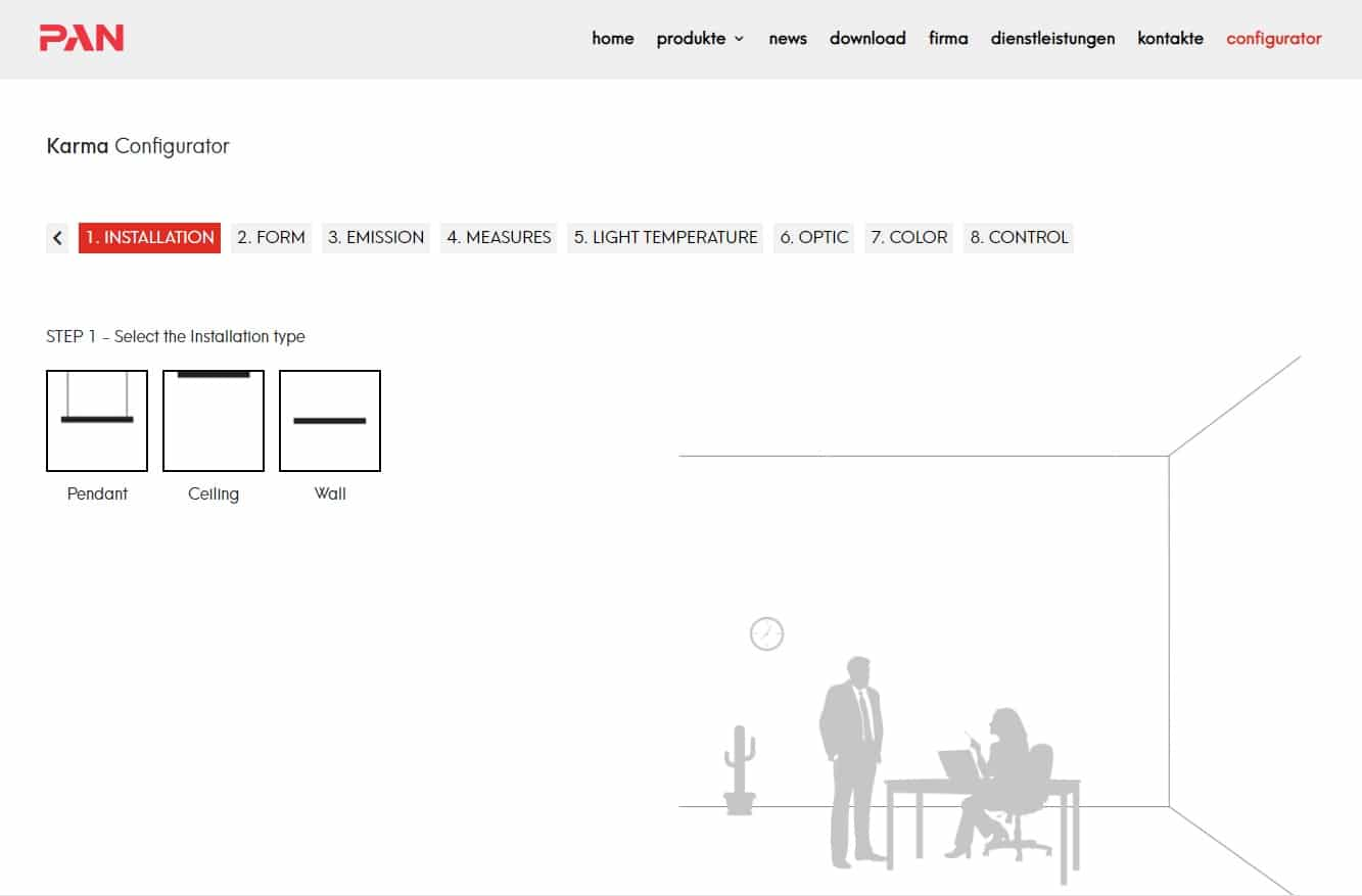 Pan international lineare system beleuchtung online konfigurator